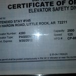 elevator inspection certfication expired on 2012