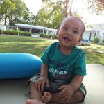 Baby Zayd enjoying the beautiful weather at the La Pari-Pari courtyard