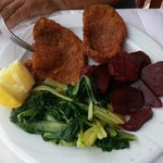 Snitzel & Beetroot & winter Greens at Blue Sea.