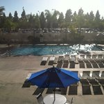 view from room 206, poolside. Sun takes over room with heat. View best in hotel.
