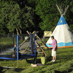 indian tipi and trampolin