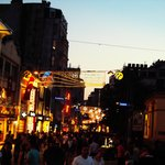Taksim Square, the main shopping street at night. Right by the hotel, and contributes to the noi