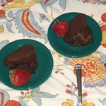 Kahlua Chocolate Cake with strawberries