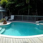 Pool area; nice size, warm water, quiet setting—LOVE!