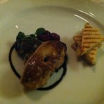 duck rillettes with seared scallop foie gras with poached cherries