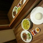 room service - 70 baht green curry, 75 baht sesame pork, 15 baht rice.