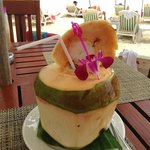 fresh coconut by the beach bar...