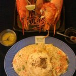 Dinner of freshwater lobsters in garlic butter and shoyu