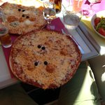 Massive Bolognese Pizza (and four cheese pizza top, salad right)