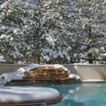 Pool with fresh snowfall in winter