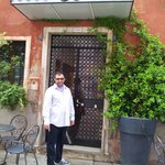Me at the entrance to the Albergo Marin