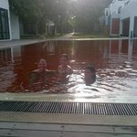 Pool area, red tiles have an interesting effect