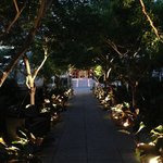 Poolside path at twilight