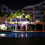 Pool area by night