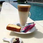 cafe latte by the pool