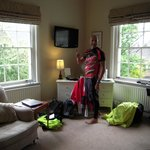 Twin room with freeview and cyclist