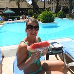fresh watermelon just been served at the pool-Delicious