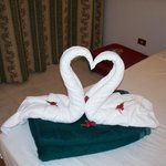 Our towels on return to room from beach