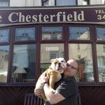 Lewis& daddy outside the chesterfield