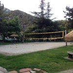 Nice volley ball court, pool and picnic areas