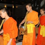 The Monks in front of the 3 Nagas Hotel