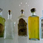 Antique glass bottles in the museum