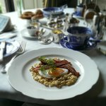 Breakfast (duck egg, creamed barley and crispy bacon