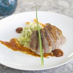 Chilled duck breast, fennel and apple salad, peanut butter bbq sauce