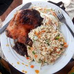 Fried rice and chicken at bojo. For more, see my blog at averysegal.com/category/ghana/