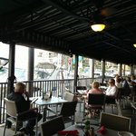 outdoor seating overlooking marina