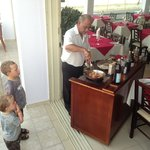 Grandpa entertains the kids with cooking!