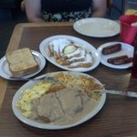chicken fried steak & eggs, french toast, and side sausage