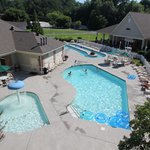 Outdoor pool, kiddie pool, and lazy river