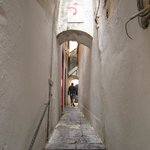 The narrow alley way from the street
