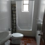 The second bathroom, broken toilet and shower curtain