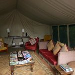 The comfortable tented lounge.
