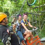 Riding a bike in the canopy