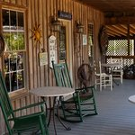 The porch area of the rustic wine and tasting buil