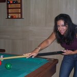 Playing pool in the lobby