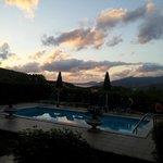 Villa Mandola's pool at sunset