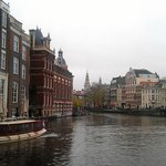 Hotel on the right (the tallest building), Amstel river on the front