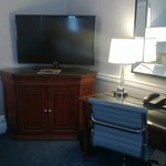 Flat panel, Keurig and Desk area