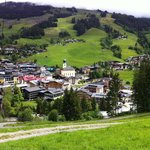 View of town of Saalbach from opposite side of valley