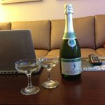 Champagne delivered to our room because we were on our honeymoon!