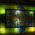 Stained glass ceiling above lobby