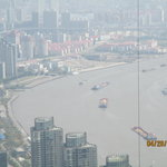 Shanghai river from Jin Mao Tower on smoggy day