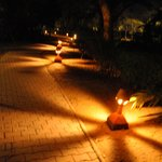 Sinclair's at night-lighted walkways