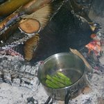 Local asparagus cooked on the fire