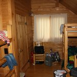 Back area with the double bunk in the deluxe cabin.