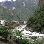 View from hotel toward Aguas Calientes and Urubamba River